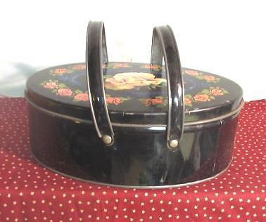Antique Tole Toleware Lunch Box Cookie / Biscuit Tin