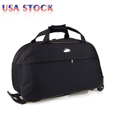 "24"" Rolling Wheeled Tote Drop Bottom Duffle Bag Luggage Travel Duffel Suitcase"