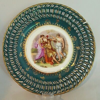 Victoria Austria Reticulated Plate Hand Painted Portrait Group SIGNED Kaufmann