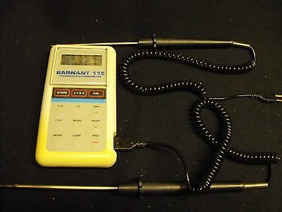 Barnant 115 Model 600-2810 Thermocouple Thermometer, with 2 J-Type Probes