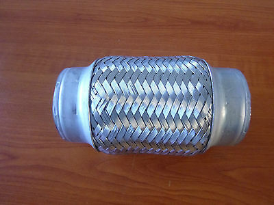 """2.5"""" Stainless Steel Exhaust Flex Joint Bellow Double Braided 6"""" long Mild ends"""