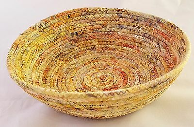 """Coiled Fabric Basket Large Catchall Fabric Wrap Clothesline Bowl Tan 8"""""""