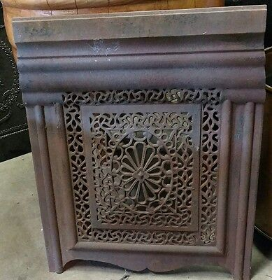 Antique cast iron very ornate steam punk summertime fireplace cover