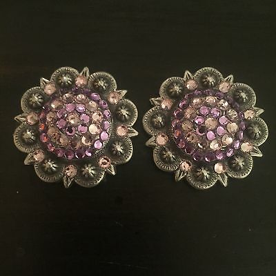 "Berry Conchos Pink Purple Flashy 1.5"" Rhinestones"