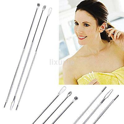 3* Stainless Steel Ear Pick Curette Wax Earpick Removal Remover Cleaner Tool NEW