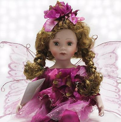"""Collectible Porcelain Brown Hair Sitting Fairy Doll Purple Dress 17"""" Girl"""