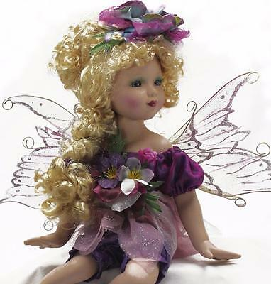 """Collectible Porcelain Blond Hair Blue Eyes Sitting Fairy Purple Color 18"""""""