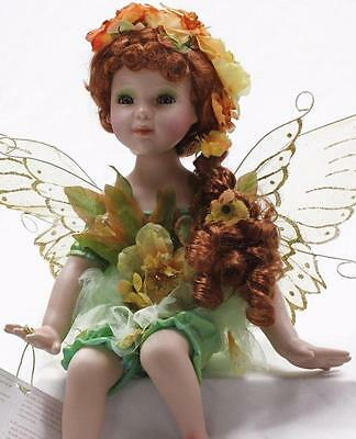 """Collectible Porcelain Red Hair Green Eyes Sitting Fairy Color Green 18"""""""