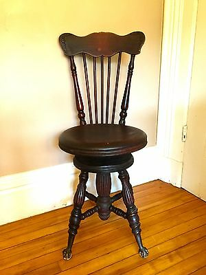 ANTIQUE PIANO STOOL CHAIR~The Charles Parker Co., CT.~ CLAW & GLASS BALL FEET