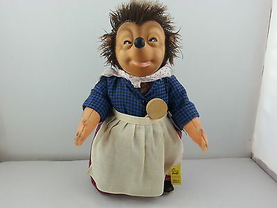 """Vintage Steiff """"Micki"""" 10"""" Hedgehog With Original ID Tag 7628/28 and Pouch With"""