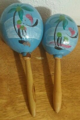 Hand made Mexican Maracas Gourds Pair Rumba Shaker