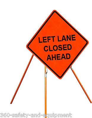 """Left Lane Closed Ahead 48"""" X 48"""" Vinyl Fluorescent Roll Up Sign And Tripod Stand"""