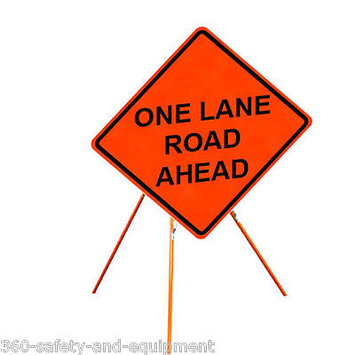 """One Lane Road Ahead 48"""" X 48"""" Vinyl Fluorescent Roll Up Sign And Tripod Stand"""