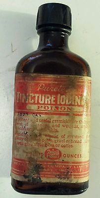 "Canadian ""tincture Iodine"" 2 Oz  Embossed Poison Bottle W/ Cap & Paper Label"