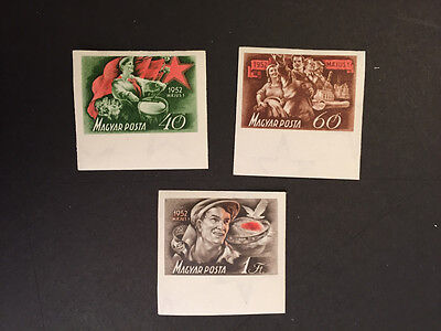 1952 Imperforate Imperf Complete set of 3. Hungary Scott 997-99 2000 Printed MLH