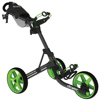 New Clic Gear Model Clicgear 3.5+ Golf Push Cart - Charcoal/lime