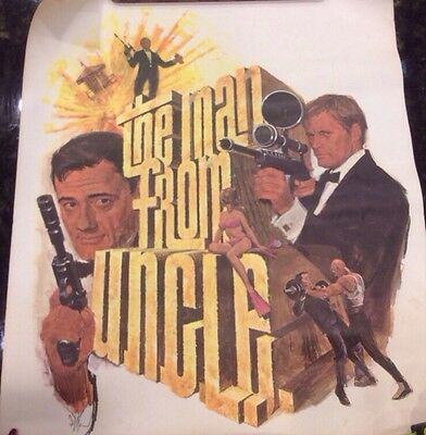 Vtg. 1966 The Man From Uncle Nbc Rare Tv Show Promo Poster By Gustavo Rehberger