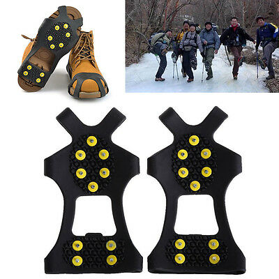 S-XL 10 Stud Anti Slip Ice Grips Snow Climbing Spike Cleats Shoes Cover Crampons