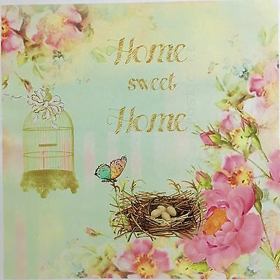 Vintage Home Sweet Home Decoupage Craft Paper - 2 Designs On 1 Paper