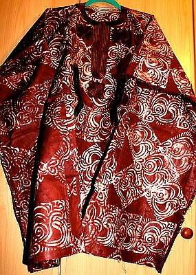 New Unique West African fully embroidered Danshiki top & tye dye Mens~Dark Brown