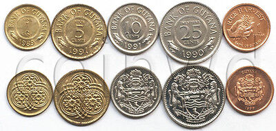 Guyana 5 coins set 1979-1996 UNC (5 cents spotted)  (#2632)