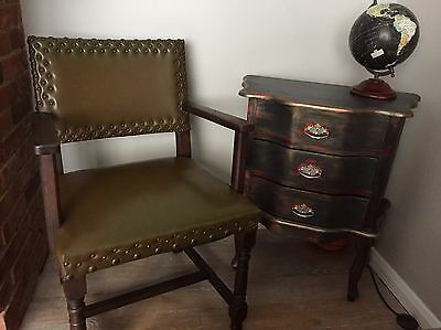 Vintage ANTIQUE DECORATIVE ARMCHAIR CHAIR Leather Button( Delivery Available)