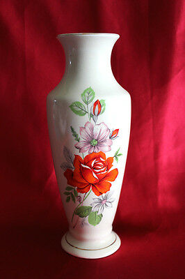 Lovely Vintage Ceramic Vase With Orange Rose  & White With Pink Daisy Theme