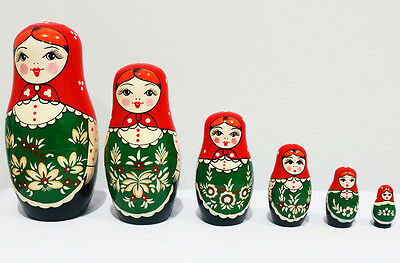 New 6pcs/set Matryoshka Russian Nesting Doll Babushka Wooden Toys Gift Red Green