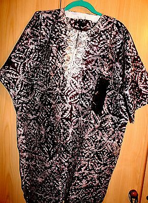 New Unique West African fully embroidered Danshiki top & tye dye Mens~Purple Mix