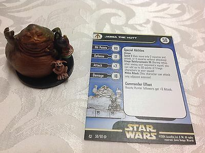Star Wars Miniature with stat card ultra rare Jabba the Hutt 50/60