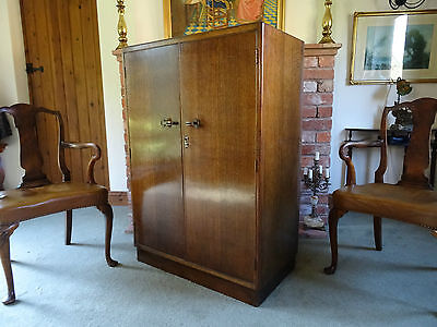 IMMACULATE 1930's ART-DECO TIGER OAK CHILD'S CHILDREN'S FITTED WARDROBE ARMOIRE