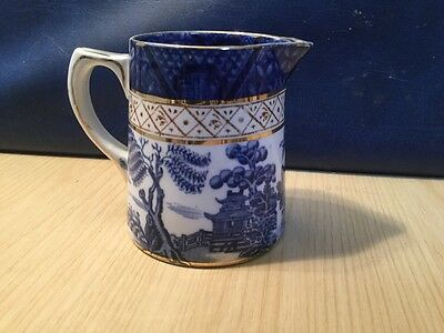 Early Booths Real Old Willow Pattern Milk Jug Creamer Blue & White China