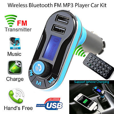 AU Handsfree Wireless Bluetooth FM Transmitter Car Kit Mp3 Player USB Charger