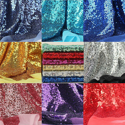 """3mm Sequins Fabric Glitz Embroidery Gold Wedding Decoration Dress 50"""" Wide"""