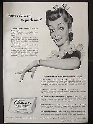 Vintage 1941 Ad (Mc17)~Cannon Percale Sheets