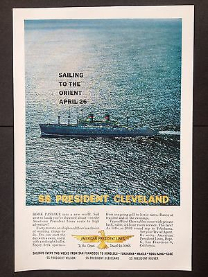 Vintage 1959 Ad (Mc4)~American President Lines Ss President Cleveland