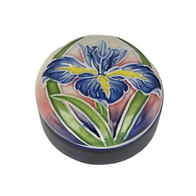 """Trinket Box Old Tupton Ware 1299 Blue Iris 2.5"""" Floral Tube Lined Pottery"""