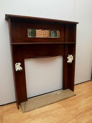 Vintage TIMBER Fire SURROUND Mantel SHELVES & MIRROR + Marble BASE Adelaide QZZQ