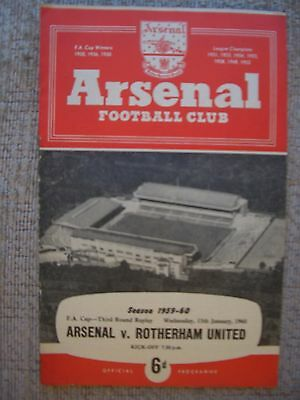 1960...ARSENAL v ROTHERHAM UNITED....F.A.Cup 3rd rd Replay....Football Programme