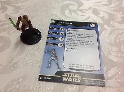 Star Wars Miniature with stat card ultra rare Kyle Katarn 52/60