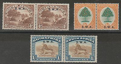 South West Africa 1927 Pictorial 4D 6D And 1/- Pairs