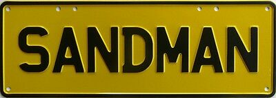 SANDMAN Y/BL Number Plate Sign Nostalgic Automotive Novelty Metal Tin Sign
