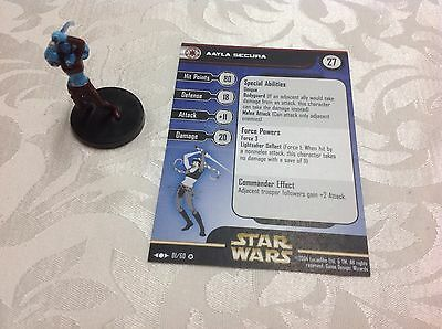 Star Wars Miniature with stat card ultra rare Aayla Secura 1/60