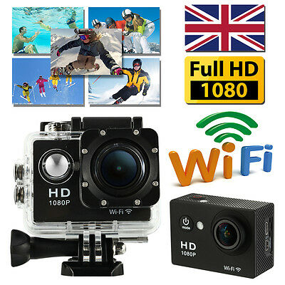 UK STOCK 2'' WiFi 12MP HD1080P Bikes Helmet Cam Action Sport DV Camera Black