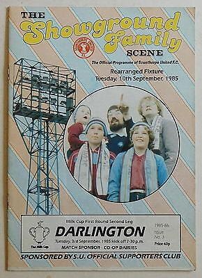 SCUNTHORPE UTD Vs DARLINGTON Prog - 10 September 1985 - League Cup First Round