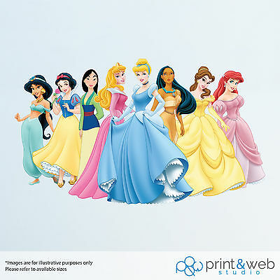 Disney Princess Wall Decal Sticker Bedroom Vinyl Kids Cinderella Belle Mulan
