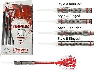 Harrows Rapide 90% Tungsten Soft Tip Darts - Knurled or Ringed - 16g or 18g