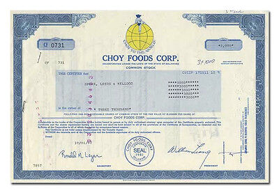 Choy Foods Corp. Stock Certificate