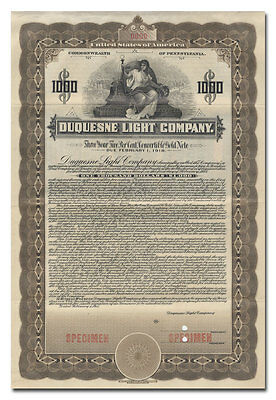 Duquesne Light Company Bond Certificate (Specimen)