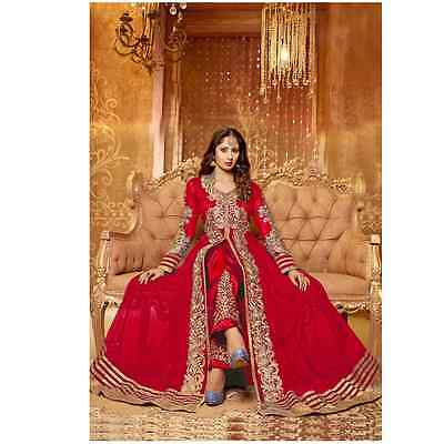 Anarkali Rich Red Bollywood Dress Indian Designer Ethnic Suit Party Wear